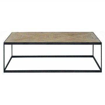 Miranda Recycled Timber Parquetry Top Iron Coffee Table