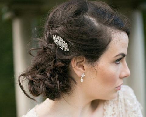 Art Deco Style Crystal Wedding Hair Clip, Bronte