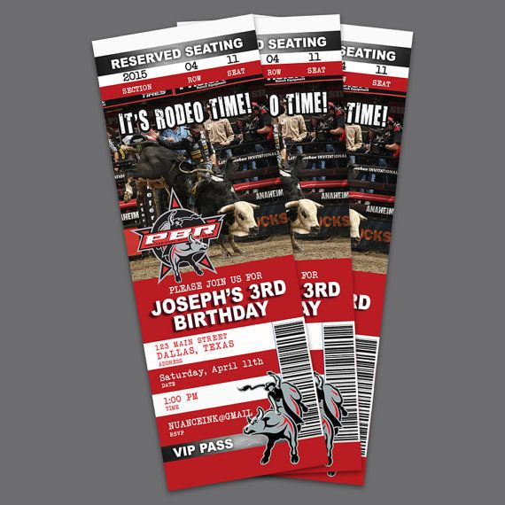 Rodeo PBR pro bull riding birthday party invitations by NuanceInk