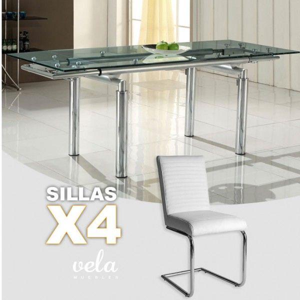 conjunto de mesa para comedor extensible en cristal y sillas con estructura en forma de