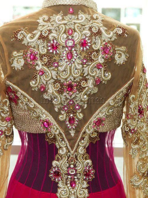 pink anarkali - back design