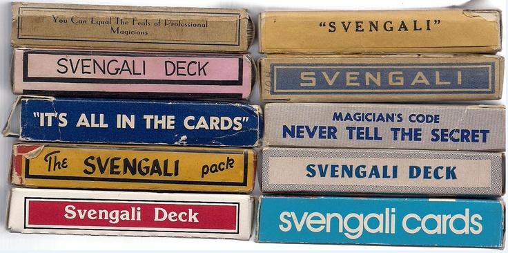 Detail of the art on the sides of ten Svengali decks.