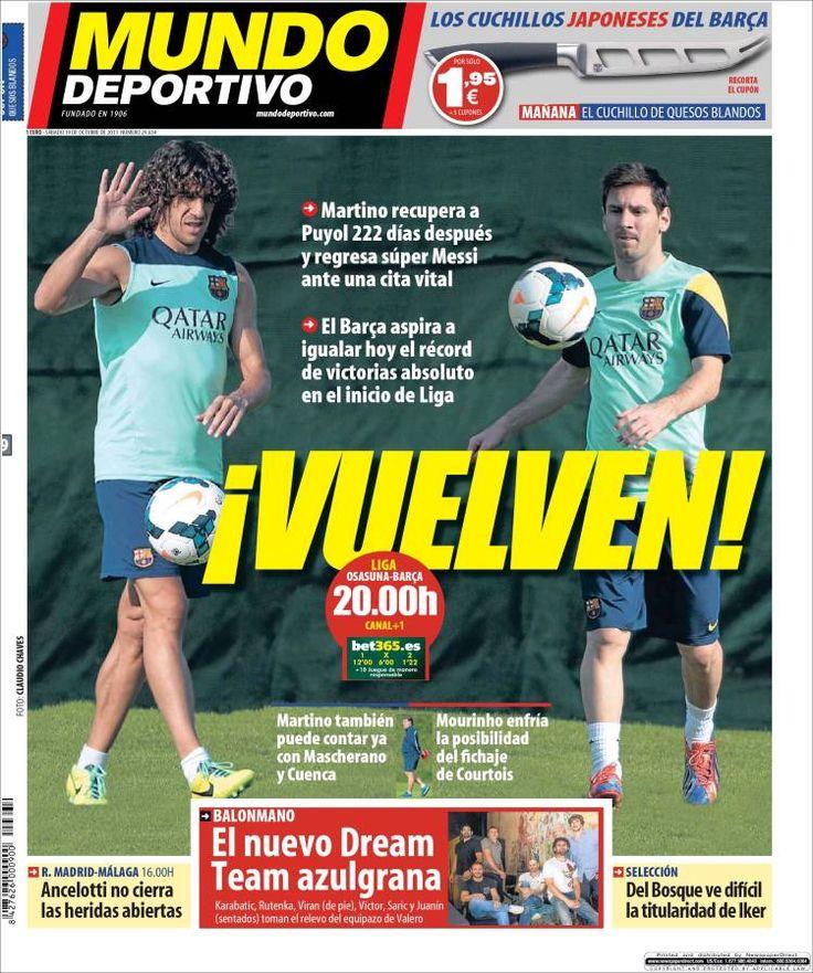 Los Titulares y Portadas de Noticias Destacadas Españolas del 19 de Octubre de 2013 del Diario Mundo Deportivo ¿Que le pareció esta Portada de este Diario Español?