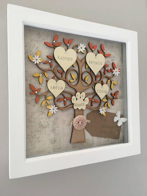 Family tree frame wooden family tree personalised family