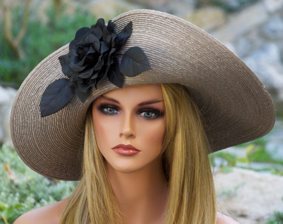 Taupe Gray Straw Kentucky Derby Hat Wide Brim Hat by AwardDesign, $125.00