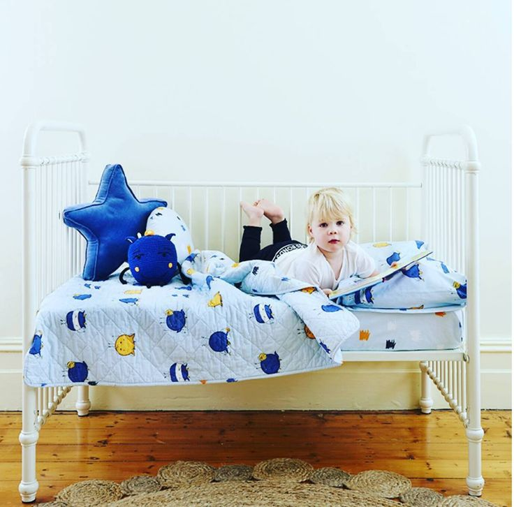 3 Pc Cot Set Monsters Cotton Boys Blue Crib Infant Quilt Blanket Toy, Cushion