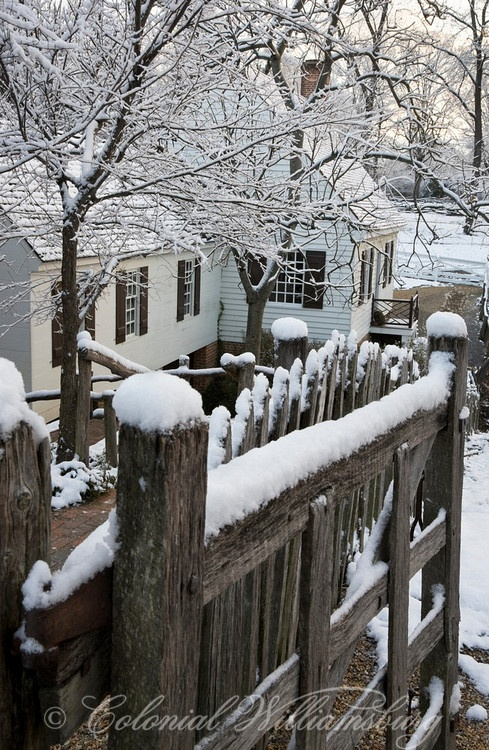 Cabinetmaker's Shop in Winter snow, Colonial Williamsburg.