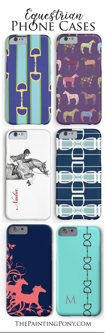 equestrian phone cases for the horse lover with fun and colorful iphone and samsung galaxy model cases featuring hunter jumper horses, horse shoes, ponies, and other fun artwork. These are sooo cute! I love them all... especially the ones that are personalized or customized with your own name or monogram!