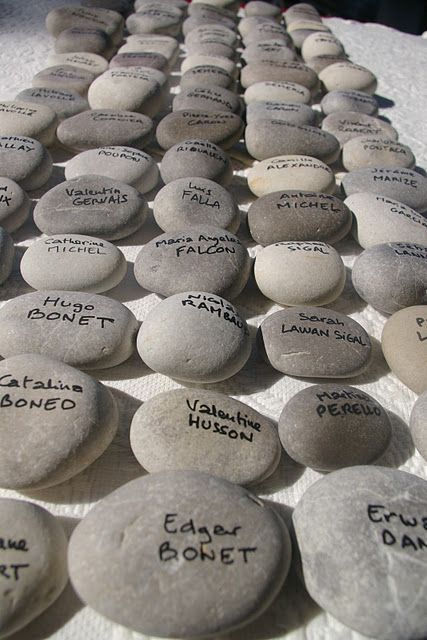 Every guest signs a rock after event/wedding place in your fountain at home.