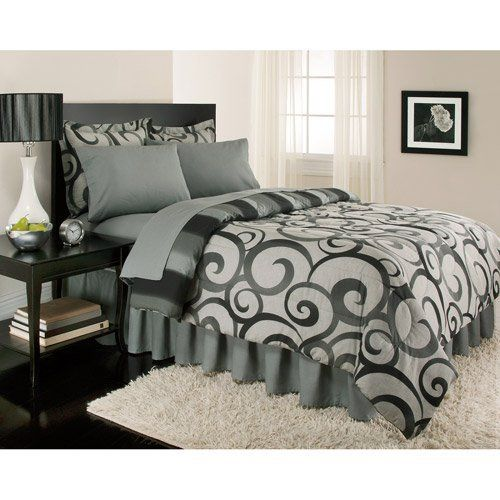 Gray Swirl Stripe Contemporary Queen Comforter Set (8pc Bed in a Bag) by BG, http://www.amazon.com/dp/B007N79VJY/ref=cm_sw_r_pi_dp_Sp9zqb12Z8G3X
