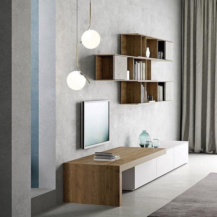Fancy Die Design Wohnwand von Novamobili mit geradlinigem Design und viel Holz Wohnwand Wohnzimmer