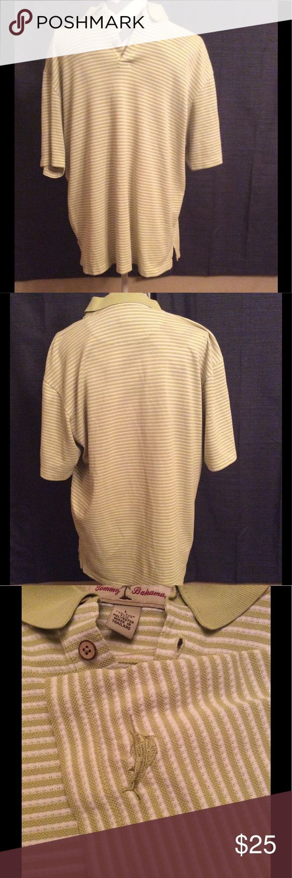 Tommy Bahama green striped polo shirt Tommy Bahama green striped polo shirt. Signature logo on sleeve. Tommy Bahama Shirts Polos