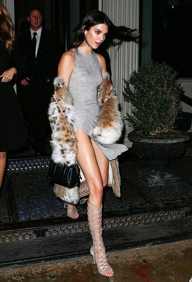 Kendall Jenner wearing Givenchy Lucrezia Micro Bag, Kendall + Kylie Emily  Lace Up Sandals, Lilly E Violetta Nicoletta Lynx Fur Coat and Kendall +  Kylie ...
