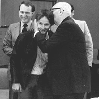 Maranello, 1980 Enzo Ferrari is affectionate with Gilles Villeneuve who was almost like a son for him.