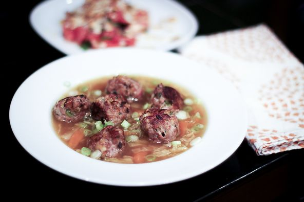 Gyoza Meatball Soup Ingredients: 4 cups pork broth 1 carrot, peeled and diced 1/2 head cabbage, thinly sliced 1 tablespoon coconut aminos or...