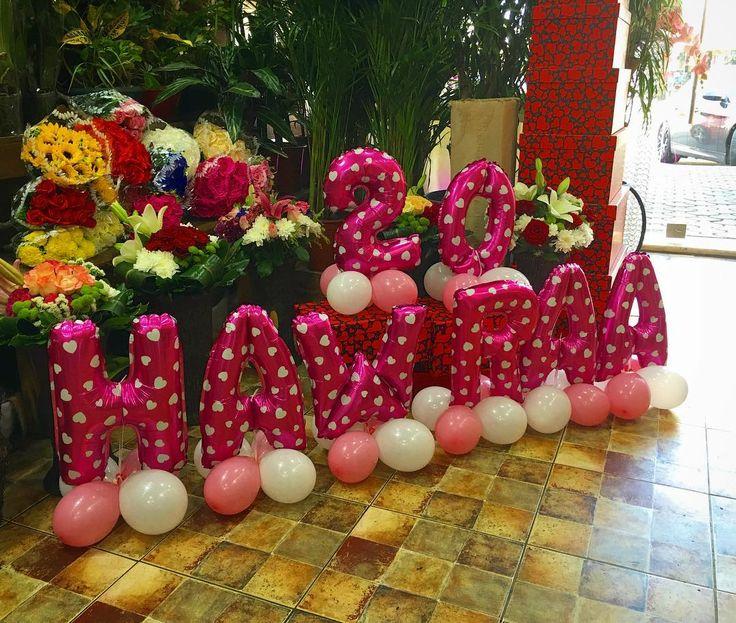 Happy 20 Birthday Hawraa ... #LaRoseBalloons .  .. #LaRose #Balloons #Number #Letters #Pink #White #Arrangement #النبطية #لبنان #Lebanon #Nabatieh