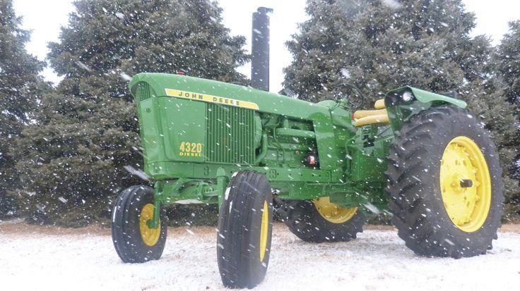 John Deere 4320 in the snow.