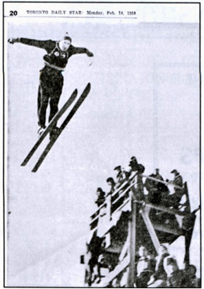 Museum member, Ian Blaiklock, mid jump. Ian placed 2nd in the combined Nordic Ski Championship at the Nassau jump  (now Trent University) in 1958.