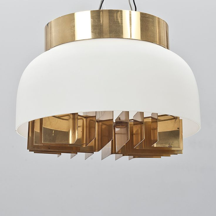 Lisa Johansson-Pape; Opal Glass and Brass Ceiling Light for Orno, 1940s.