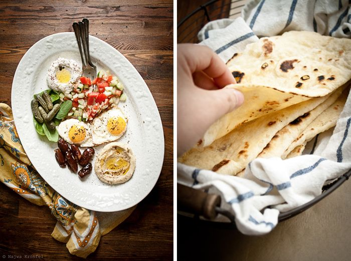 labneh, light salad, hummus, fried eggs, dates & more with homemade flatbread