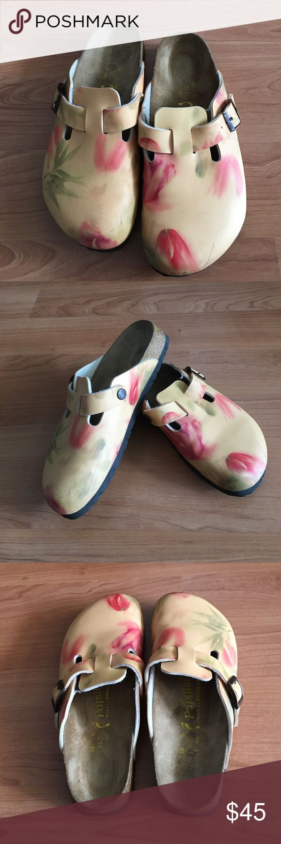 PAPILLIO Birkenstock mules watercolor floral Great PAPILLIO mules! Watercolor floral and leaves. Size 38. Please see photo of footbed to confirm size and width. Barely any wear on shoe or sole. In great condition! Thank you. Birkenstock Shoes Mules & Clogs