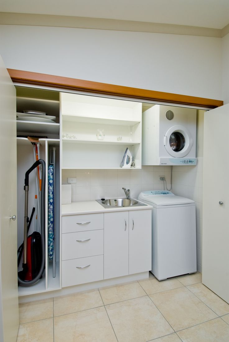 A different approach including a laundry into a living space. Hidden behind bi-fold doors it shuts off this laundry space until needed. #brilliantsa #laundry #renovation #bi-fold #hidden