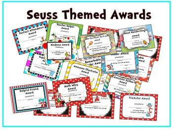 Awards depicting original Dr. Seuss characters 18 PRINTABLE AWARDS INCLUDED: Perfect Attendance Teacher Helper Award Kindness Award Oh, The Places You'll Go Improvement Award Remarkable Reader-A Average Award Remarkable Reader-AR Goal Award Awesome Illustrator