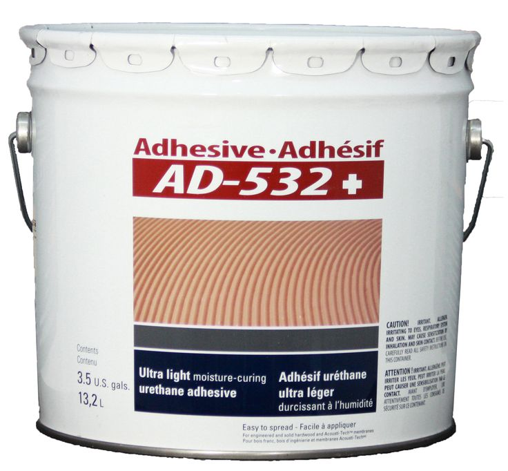 FREE SHIPPING! Adhesive AD-532+ (3.5 gal.). This urethane-based adhesive is designed to glue acoustic membranes, engineered wood and pure solid hardwood.  Without solvent or water, the AD-532+ is lighter and easier to apply.