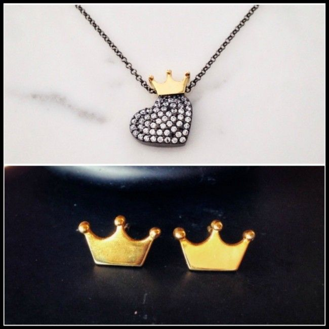 -Set from Crown earrings and Necklace with heart from silver and zircon with a goldplated crown - 64.00€