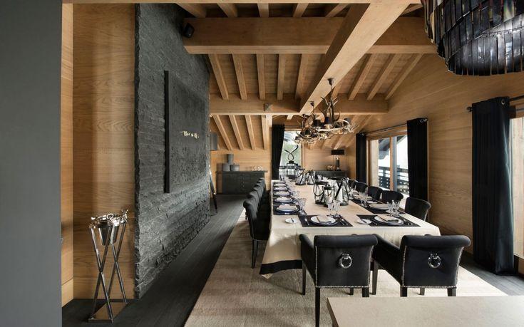 Elegant dining room as part of inspiring modern chalet interior