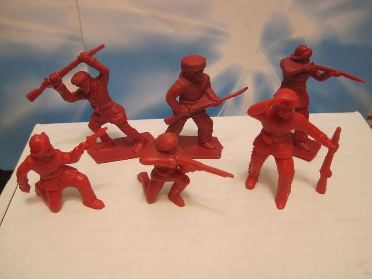TIM MEE FORT APACHE VINTAGE 60s MARX ERA 6 PIONEER 60MM RED PLASTIC TOY SOLDIER #TIMMEEMPC