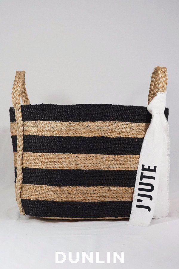 J'Jute Andaman Medium Jute Basket Striped
