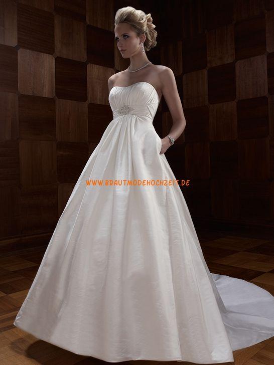 Trägerlose Lange Hochzeitskleider aus Taft