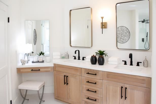 As Seen On Hgtv S Christina On The Coast This Master Bathroom Features Quartz Countertops White Master Bathroom Bathrooms Remodel Quartz Bathroom Countertops