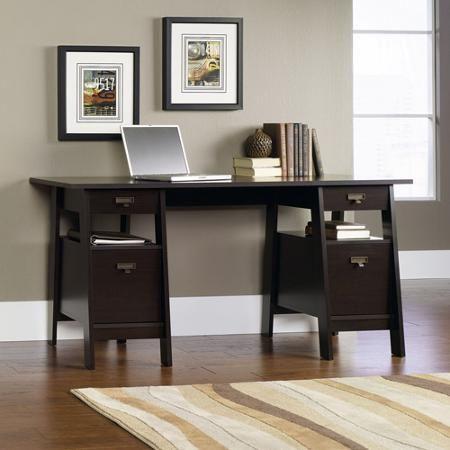 215 sauder stockbridge executive trestle desk jamocha wood - Sauder Desks