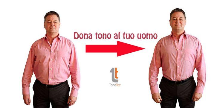 Tone Tee - la maglietta dimagrante. Perchè solo noi donne dobbiamo tenerci in forma? Dona un pò di tono al tuo uomo. Tone Tee ridurrà il volume grasso, grazie al tessuto costituito da pannelli a nucleo di compressione stabilizzante.  #dimagrante #dieta #apparenza #modellante #capi #maglietta #indumento #teamfive #tonetee #shopping #comprasubito #uomo