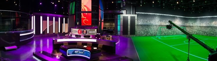 Unique perspective of BT Sport TV studio in London. ASB MultiSports floor illuminates the studio. Displays various marking lines for sports individually #design #technology #innovation #creativity #colourful #modern