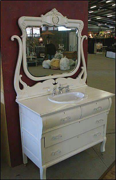 Love this look - farmhouse rustic vanity for a bathroom