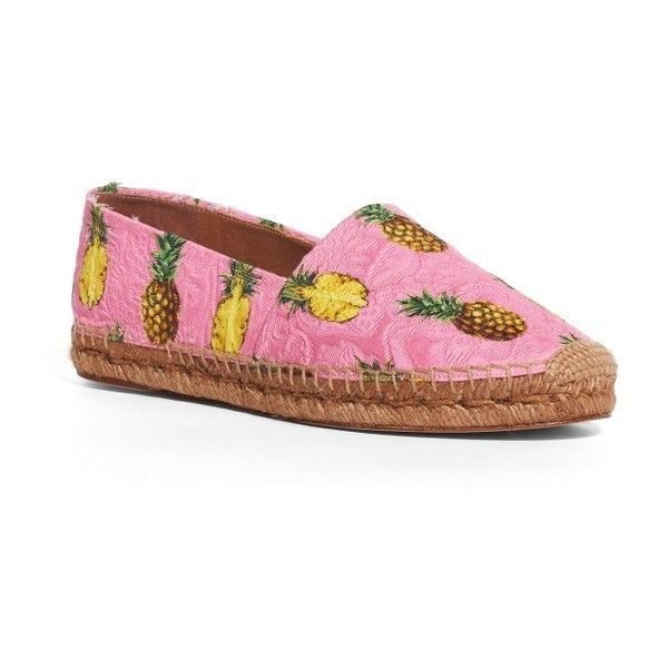 Women's Dolce&gabbana Pineapple Print Espadrille Flat ($495) ❤ liked on Polyvore featuring shoes, flats, pink, pink espadrilles, slip on shoes, dolce gabbana shoes, dolce gabbana espadrilles and flat shoes