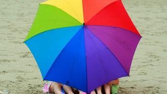 ребенок, зонтик, цветной, девочки, обувь, лето, зонт, пляж, настроения, дети, ноги, природа