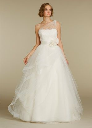 Spectacular A Line Asymmetric Ribbons Flower Lace Tulle Long White Wedding Dress