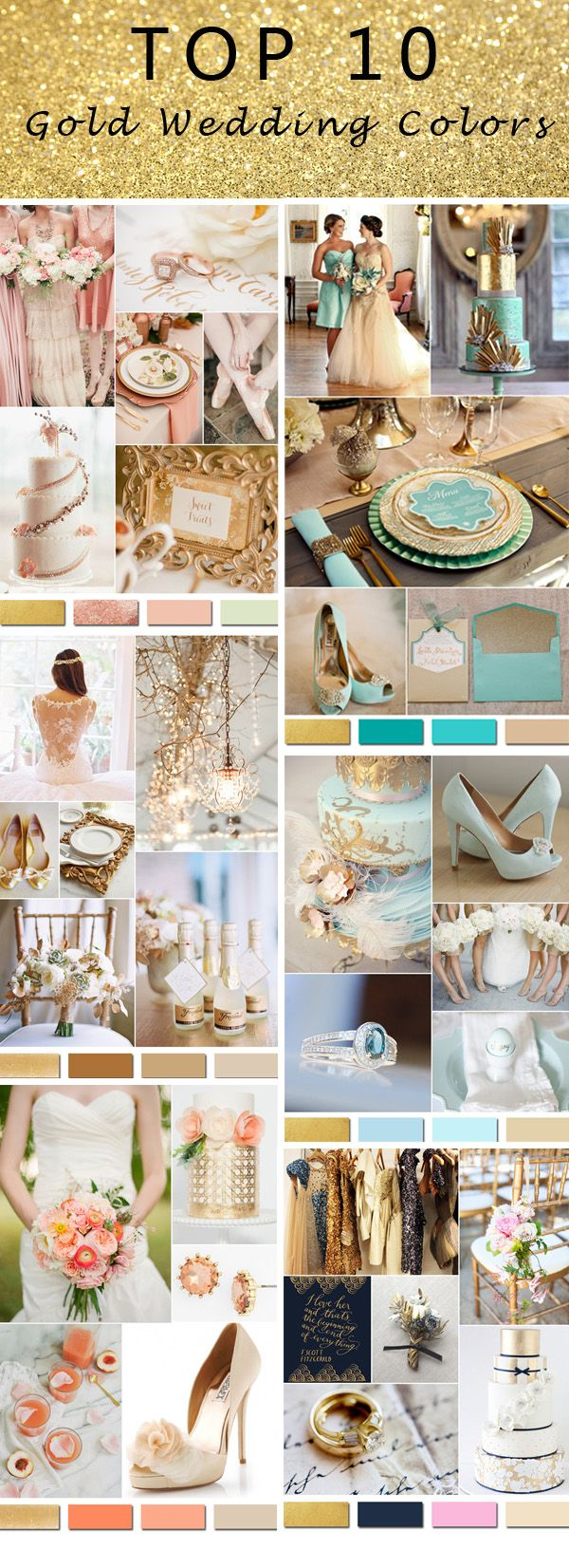 Top 10 Gold Wedding Colors-gold and teal, rose gold, gold and blue, gold and…