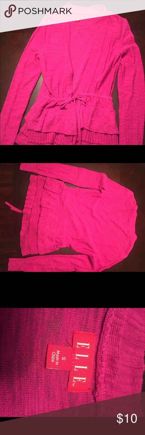 Elle Hot Pink Cardigan Sweater Lightweight hit pink cardigan sweater with tie. Like new condition. Elle Sweaters Cardigans