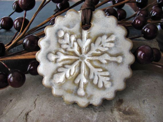 30% off TONIGHT ONLY - use coupon code ARTBEADS30 - Snowflake Ornament in Show Crystal Glaze - Hand Ceramic Ornament  Handmade ornament to adorn your tree, or other holiday decor.  This snowflake was hand-formed by me out of stoneware and glazed in snow crystal white. It measures about 2 inches diameter.  Note: these are sample photos - please allow for slight differences due to the handmade process.  Your ornament will be lovingly wrapped and shipped via USPS first class mail.