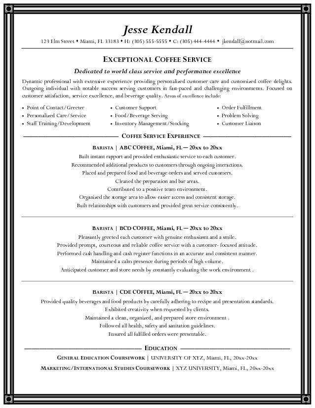 free barista resume example - How To Write A Good Resume Australia