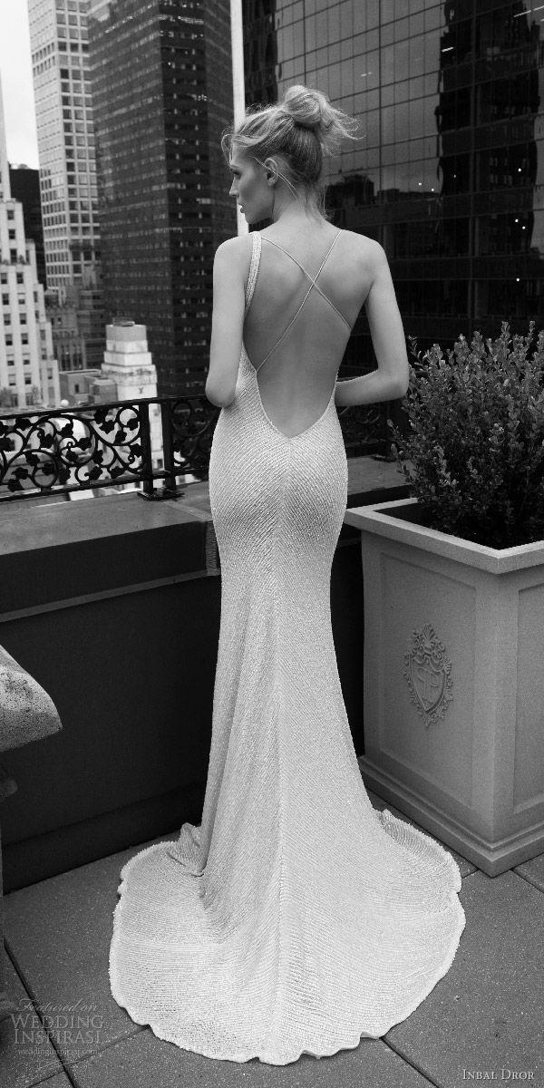 inbal dror 2016 wedding dress with sleeveless strap v neck sheath wedding dress heavily beaded style 09 bkv puddle train