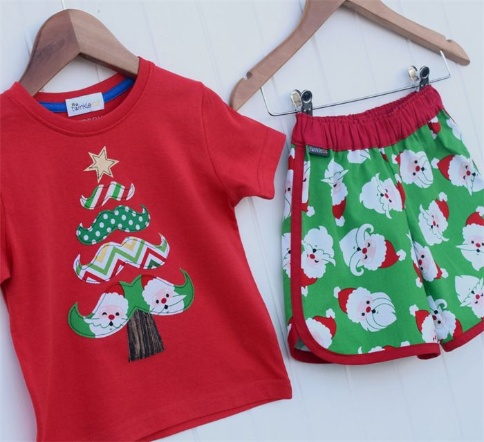 Retro Christmas Shorts  and Moustache Tree Applique Tee Set Sizes 1-6