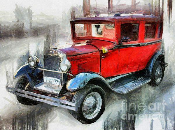 Red Vintage Car - Drawing digitally enhanced by Daliana Pacuraru