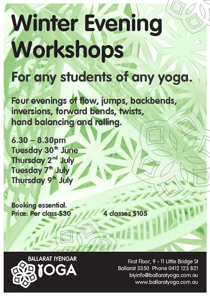 Winter Evening Workshops for any students of any yoga
