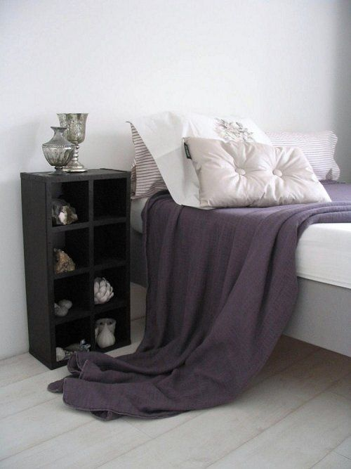 I want to do this now! #minimalist: Purple Rooms, Master Bedrooms, Bedrooms Bedrooms, Bedside Tables, Dark Purple, Gray Purple Black Bedrooms, Bedrooms Decor, Minimalist Bedrooms, Gray Bedrooms